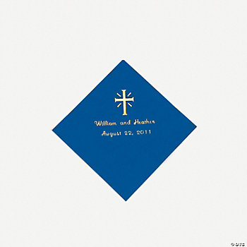 Personalized Cross Blue Beverage Napkins