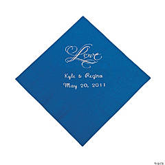 "Personalized ""Love"" Beverage Napkins - Blue"