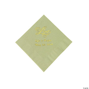 "Personalized ""Love"" Beverage Napkins - Sage Green"
