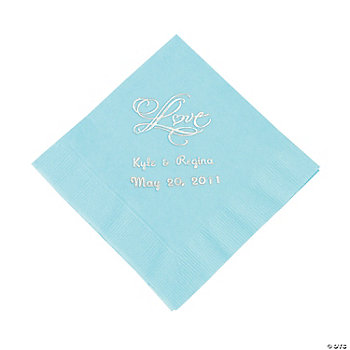 "Personalized ""Love"" Beverage Napkins - Light Blue"