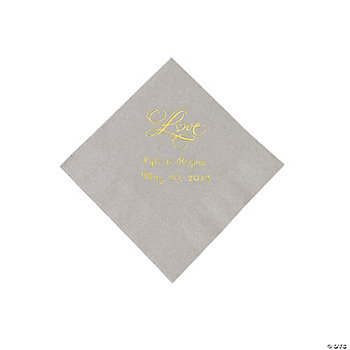 "Personalized ""Love"" Beverage Napkins - Silver"