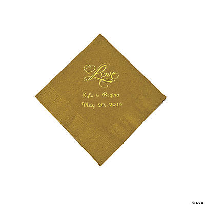 "Personalized ""Love"" Beverage Napkins - Gold"