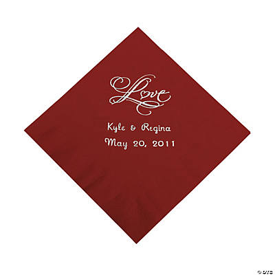"Personalized ""Love"" Beverage Napkins - Burgundy"