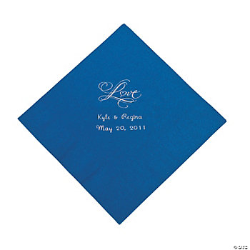 "Personalized ""Love"" Luncheon Napkins - Blue"