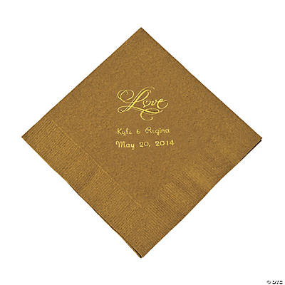 "Personalized Gold ""Love"" Luncheon Napkins - Gold"