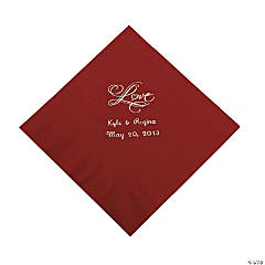"Personalized ""Love"" Luncheon Napkins - Burgundy"