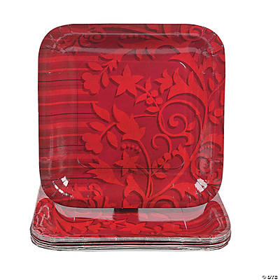 Red on Red Square Dinner Plates