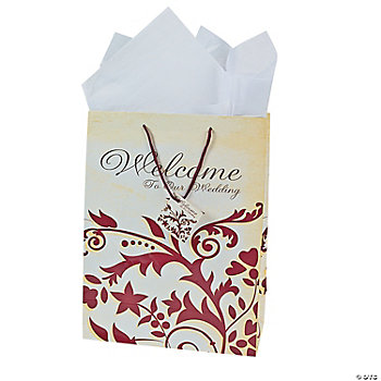 Large Red On Red Wedding Gift Bags
