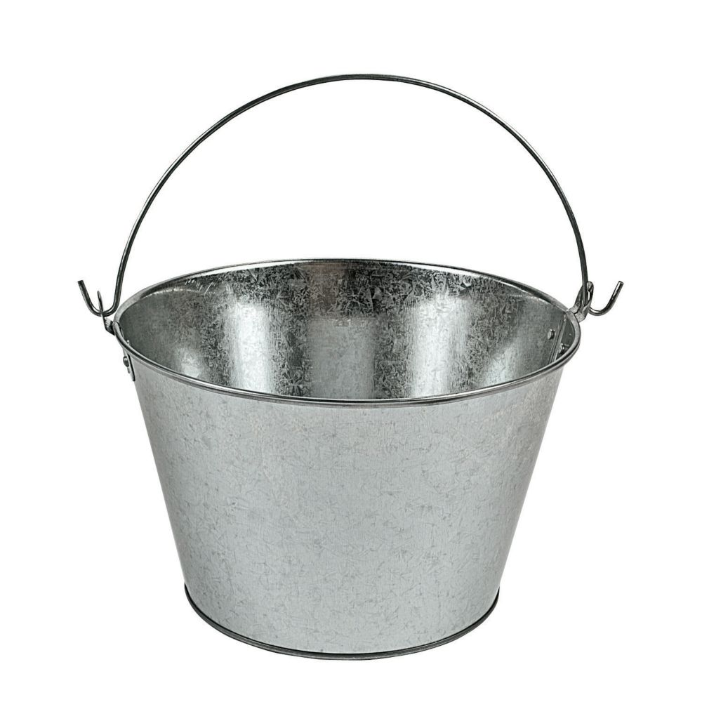 Large galvanized pail party decorations pails baskets for Galvanized metal buckets small