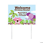 Personalized Safari Girl Yard Sign