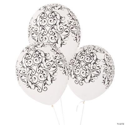 Latex Black & White Flourish Balloons