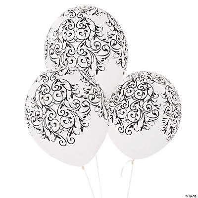 Latex Black & White Flourish Balloons