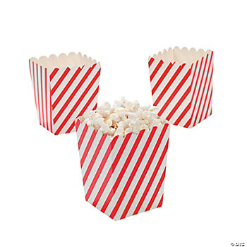 Mini Red & White Striped Popcorn Boxes - Oriental Trading