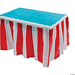 Plastic Red & White Striped Table Skirt