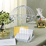 Metal White Birdcage Card Holder