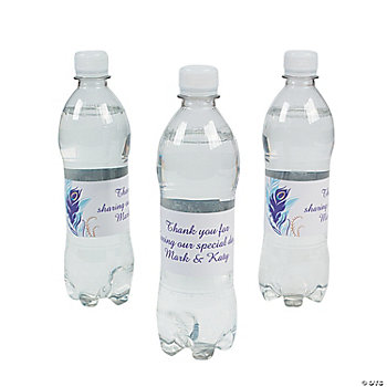 Personalized Peacock Wedding Water Bottle Labels