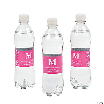 Personalized Monogram Bottle Labels - Hot Pink