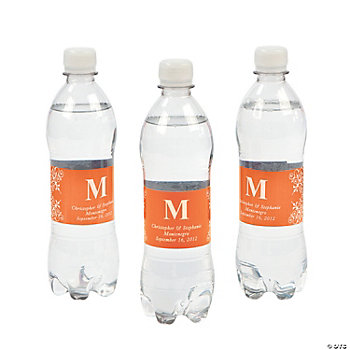 Personalized Monogram Bottle Labels - Orange