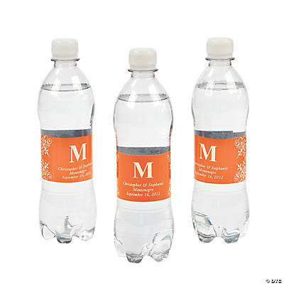Personalized Orange Monogram Bottle Labels