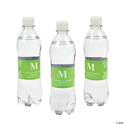 Personalized Lime Green Monogram Bottle Labels