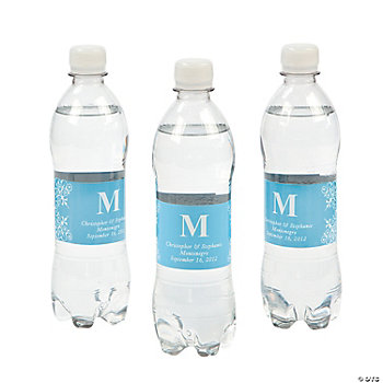 Personalized Monogram Bottle Labels - Light Blue