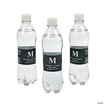 Personalized Monogram Bottle Labels - Black