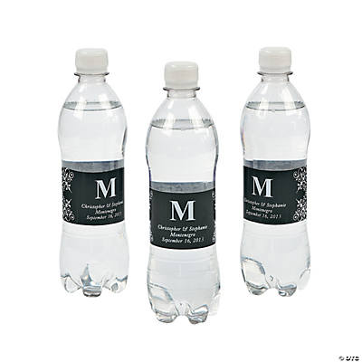 Personalized Black Monogram Bottle Labels