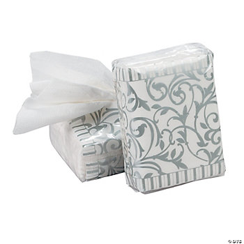 Silver Wedding Facial Tissue Packs