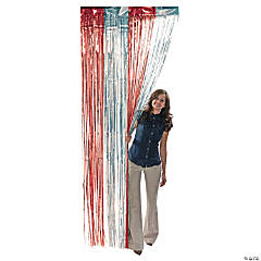 Red & Silver Fringe Curtain