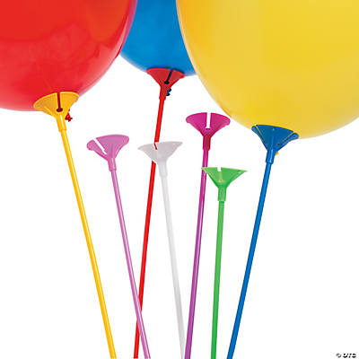 Balloon Sticks with Cup - Assorted Neon Colors - Plastic (144pc)
