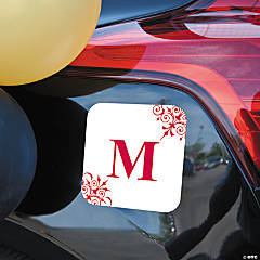 Personalized Red Monogrammed Car Magnet