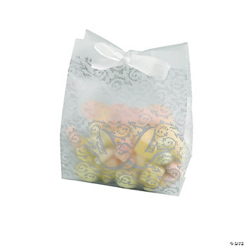 Frosted Vellum Paper Wedding Favor Bags Silver
