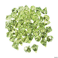 Acrylic Diamond-Shaped Lime Green Gems