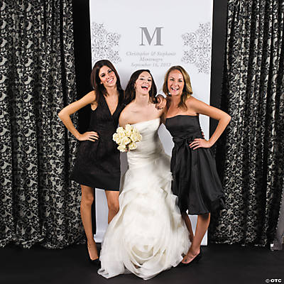 Personalized Silver Monogram Photo Booth Backdrop