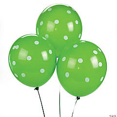 Lime Green Polka Dot Latex Balloons
