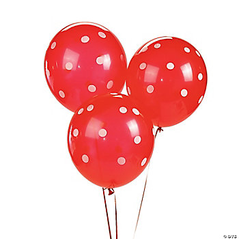 Red Polka Dot Latex Balloons
