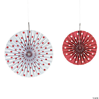 Red Polka Dot Hanging Fans