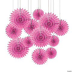 Candy Pink Tissue Hanging Fans
