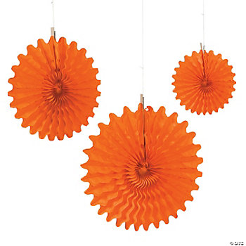 Orange Tissue Hanging Fans