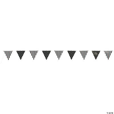 Black Striped & Polka Dot Pennant Banner