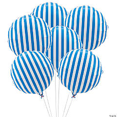 Blue Striped Mylar Balloons