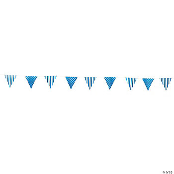 Blue Striped & Polka Dot Pennant Banner