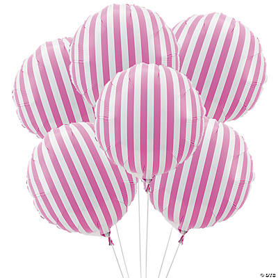 Candy Pink Striped Mylar Balloons