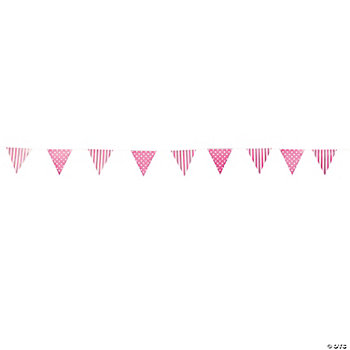 Candy Pink Striped & Polka Dot Pennant Banner