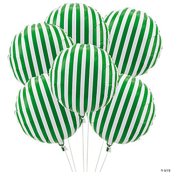 Green Striped Mylar Balloons