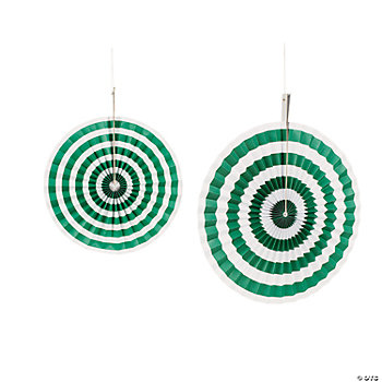 Green Striped Hanging Fans