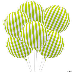 Lime Green Striped Mylar Balloons