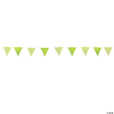 Lime Green Striped & Polka Dot Pennant Banner