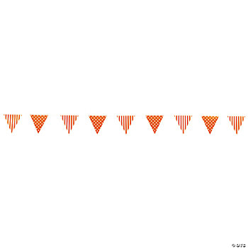 Orange Stripe & Polka Dot Pennant Banner