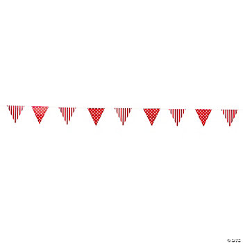 Red Striped & Polka Dot Pennant Banner
